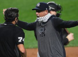 Yankees' skipper Aaron Boone argues with umpire John Tumpane after his ejection. (Image: Getty)