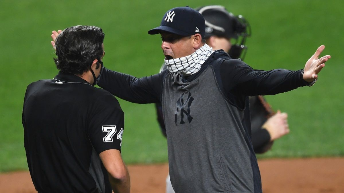Aaron Boone ejected Yankees manager jomboy video