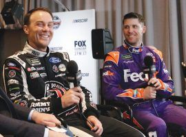 Kevin Harvick, left, and Denny Hamlin are the favorites to win Sunday's Cook Out Southern 500. (Image: AP)