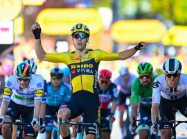 Wout Van Aert secures a second stage victory for Jumbo-Visma in Stage 6 of the Tour de France. (Image: Cor Vos/AP)
