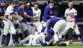 The Los Angeles Dodgers opened as the favorite to win the 2021 World Series at sportsbooks across the globe. (Image: Kelly Gavin/MLB/Getty)