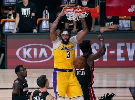 Anthony Davis of the Los Angeles Lakers dunks against the Miami Heat in Game 1 of the NBA Finals. (Image: Mark J. Terrill/AP)