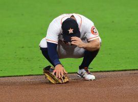 Astros second baseman Jose Altuve reacts to making an error during the sixth inning of a Game 3 loss to the Rays in the 2020 ALCS. (Image: Jayne Kamin-Oncea/USA Today Sports)