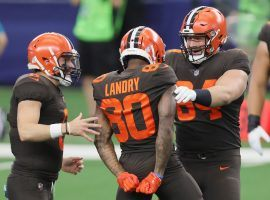 Cleveland Browns QB Baker Mayfield celebrates Jarvis Landry throwing a TD on a trick play against the Dallas Cowboys. (Image: John Kuntz/AP)
