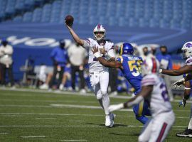 Buffalo Bills QB Josh Allen passes against the LA Rams in Week 2. (Image: Adrian Kraus/AP)