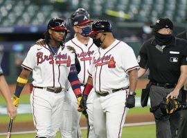 Braves outfielder Ronald Acuna hit a home run, then nearly got into an altercation with Marlins pitcher Sandy Alcantara in Game 1 of their NLDS series. (Image: Eric Gay/AP)