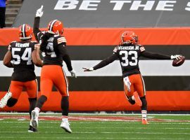 Cleveland Browns safety Ronnie Harrison (33) scores a touchdown on a Pick-6 against the Indianapolis Colts in Week 5. (Image: Jason Miller/Getty)