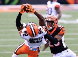 Cleveland Browns WR Rashard Higgins makes a grab against the Cincinnati Bengals. (Image: Justin Casterline/Getty)