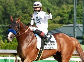 Irad Ortiz Jr. rode Improbable to his second of three Grade  wins at August's The Whitney. His current form makes him the favorite in Circa Sports' Breeders' Cup Classic futures betting. (Image: Daily Gazette)