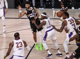 The Los Angeles Lakers try to stop Jamal Murray from the Denver Nuggets in the 2020 Western Conference Finals. (Image: Aaron Ontiveroz/Denver Post)