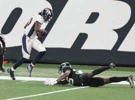 Denver Broncos WR Jerry Jeudy beats NY Jets CB Pierre Desi for a TD at MetLife Stadium. (Image: Vincent Carchietta/USA Today Sports)