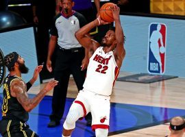 Miami Heat guard Jimmy Butler shoots over the LA Lakers in Game 5 of the NBA Finals. (Image: Kim Klement/USA Today Sports)