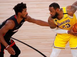 Jimmy Butler of the Miami Heat defends LeBron James of the LA Lakers in Game 4 of the NBA Finals. (Image: Kevin C Cox/Getty)