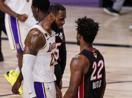 LeBron James (Lakers) and Jimmy Butler (Heat) battling during Game 3 of the NBA Finals. (Image: Mark J. Terrill/AP)