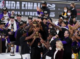 The Los Angeles Lakers celebrate winning the 2020 NBA Championship after defeating the Miami Heat in six games. (Image: AP)