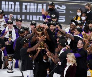 Miami Heat LA Lakers win NBA championship LeBron James MVP