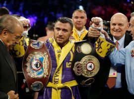 Vasiliy Lomachenko (pictured) will take on Teofimo Lopez in a lightweight title unification bout on Saturday. (Image: AP)