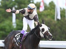 Jockey Daisuke Fukumoto and Mighty Heart raise the hopes of race fans that they can win Canada's first Triple Crown in 17 years. The one-eyed horse, who wears a ball over his missing eye, is the even-money favorite in Saturday's Breeders' Stakes at Woodbine. (Image: Nathan Denette)