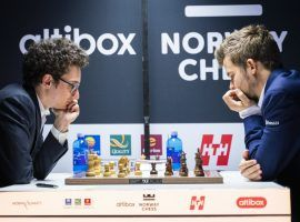 Magnus Carlsen (right) deserves to be the favorite at Norway Chess, but Fabiano Caruana (left) could provide significant value for bettors. (Image: Lennart Ootes)