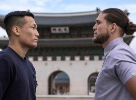 Chan Sung Jung (left) and Brian Ortega (right) will face off with a featherweight title shot on the line at UFC Fight Night 180 on Saturday. (Image: Woohae Cho/Zuffa)