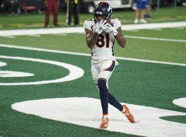 Denver Broncos WR Tim Patrick scores a touchdown against the NY Jets. (Image: John Minchillo/AP)
