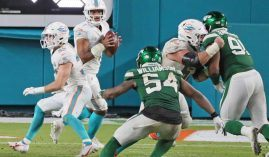 The Dolphins named Tua Tagovailoa as their starting quarterback going forward, after he took a handful of snaps against the Jets in a win on Sunday. (Image: Charles Trainor Jr./Miami Herald)