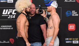 Khabib Nurmagomedov (left) will face Justin Gaethje (right) in the main event of UFC 254. (Image: Josh Hedges/Zuffa/Getty)