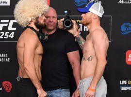 Khabib Nurmagomedov (left) will face Justin Gaethje (right) in the main event of UFC 254. (Image: Josh Hedges/Zuffa/Getty)