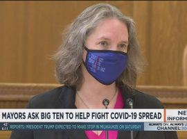 Madison mayor Satya Rhodes-Conway is one of 12 mayors from Big Ten cities asking the conference to include community concerns when coming up with protocols to fight COVID-19 as football season gets underway this weekend. (Image: News3Now/YouTube)