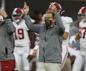 nick saban wearing mask