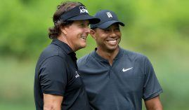 Tiger Woods and Phil Mickelson are down the betting board to win the Masters, but both past champions believe they can contend at Augusta National next month. (Image: Getty)