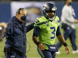 Seattle Seahawks head coach Pete Carroll and QB Russell Wilson are the big favorites to win the NFC West. (Image: Joe Nicholson/USA Today Sports)