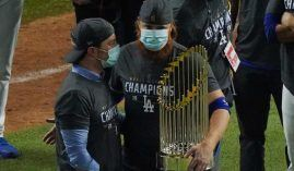A COVID championship. Masked-up Dodgers celebrate 2020 World Series title (Photo: AP)