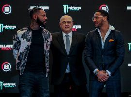 The undefeated AJ McKee (right) will take on Darrion Caldwell (left) in a Featherweight Grand Prix semifinal on Thursday at Bellator 253. (Image: Lucas Noonan/Bellator)