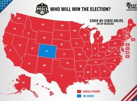 Colorado is a blue dot in this U.S. map, but the depiction hardly represents the chances of the Electoral College swinging radically in Trump's direction Tuesday. (Image: DraftKings)