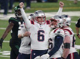 New England Patriots kicker Nick Folk (6) celebrates a game-winning FG to defeat the New York Jets. (Image: Porter Lambert/Getty)