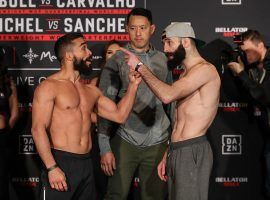 Patricio Freire (left) will defend his featherweight title against Pedro Carvalho (right) in the main event of Bellator 252. (Image: Lucas Noonan/Bellator)