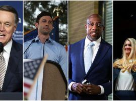 Left-to-right: David Perdue will take on Jon Ossoff in one Georgia Senate runoff, while Raphael Warnock challenges Kelly Loeffler in the other. (Image: Getty)