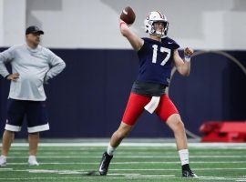 Arizona starting quarterback Grant Gunnell has a cheap DFS salary to open the season. He could provide nice value in an expected shootout against USC. (Image: Arizona Wildcats)