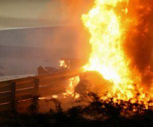 Romain Grosjean survives crash with minor injuries