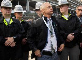 Indicted trainer Jason Servis, seen here sweating out the steward's inquiry in the 2019 Kentucky Derby, now faces a charge of wire fraud along with his horse doping charges. (Image: Lexington Herald Leader)
