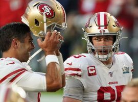 San Francisco 49ers QB Jimmy G and TE George Kittle chat on the sidelines after defeating the New England Patriots in Week 7. (Image: Getty)