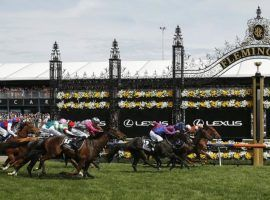 "Vow and Declare captured the 2019 Melbourne Cup, known as the ""race that stops a nation."" Australia's most famous race runs without fans Monday night in the US. (Image: Getty)"