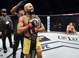 Deiveson Figueiredo (pictured) will defend his flyweight title vs. Alex Perez at UFC 255 on Saturday. (Image: Jeff Bottari/Zuffa/Getty)
