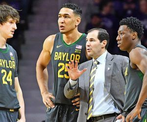 Scott Drew, head coach of No. 2 Baylor, tested positive for COVID-19 this week postponing the Bears' season opener at the Mohegan Sun tournament. Baylor is just one of dozens of NCAA basketball postponements or cancellations as the pandemic rages in the US. (Image: AP)