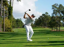 Bryson DeChambeau has brought a new power game to Augusta, and is the favorite to win the Masters at several sportsbooks. (Image: Getty)