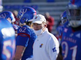 Kansas Jayhawks head coach Les Miles on the sideline back in the glory days of October, when scheduled games were happening. (Image: Denny Medley / USA Today Sports
