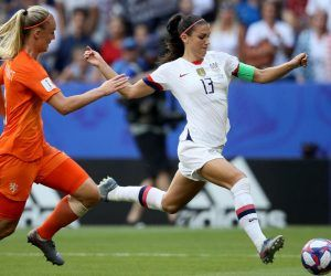 USWNT striker Alex Morgan in the 2019 FIFA World Cup final vs. the Dutch national team. The US women's team squares off against Netherlands for a friendly rematch on Friday.