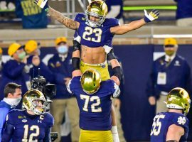 Notre Dame moved up two spots to No. 2 after upsetting No. 1-ranked Clemson on Saturday at home in College Football Week 10 betting. (Image: USA Today Sports)
