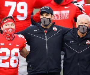 Ohio State Buckeyes head coach Ryan Day (center) and defensive coordinator Kerry Coombs(right) and place kicker Dominic DiMaccio (28)after the game against the Indiana Hoosiers at Ohio Stadium. The Buckeyes vs. Illinois was cancelled this week as an undisclosed number of players and staff, including Day, tested positive for COVID-19. (Image: AP)